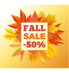 fall sale -50 off icon poster vector image