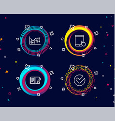 Financial diagram feedback and tablet pc icons vector