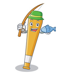 Fishing baseball bat character cartoon vector