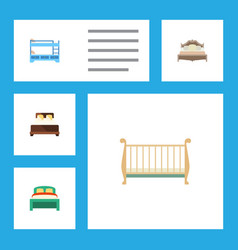 Flat bed set of mattress bedroom bunk bed and vector