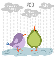 funny love card with birds vector image