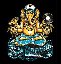 ganesha dj sitting on electronic musical stuff vector image
