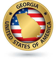 georgia state gold label with state map vector image