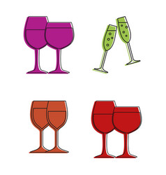 glasses icon set color outline style vector image