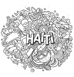 Haiti hand drawn cartoon doodles vector