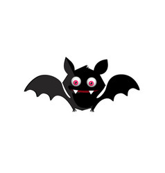 halloween of cute funny black smiling bat with vector image
