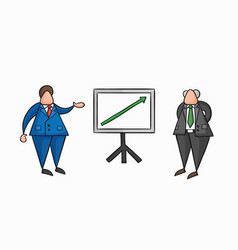 hand-drawn businessman worker showing sales chart vector image