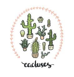 Hand drawn cactus set Cactus - lettering vector image