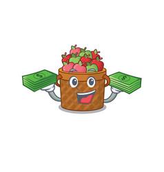 Happy face apple basket character having money vector