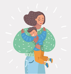 Happy mother holding son on her hands motherhood vector