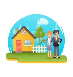 happy young family with new house real estate vector image