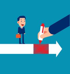 helping business person skip with pen drawing vector image