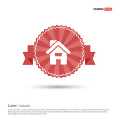 Home icon - red ribbon banner vector
