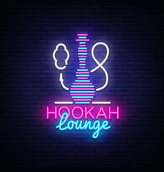 hookah neon sign hookah lounge logo in vector image