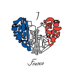 I love France Traditional French national set of vector image
