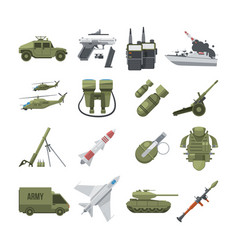 Icon set of different army weapons military vector