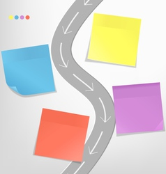Infographic elements paper sticker with road vector