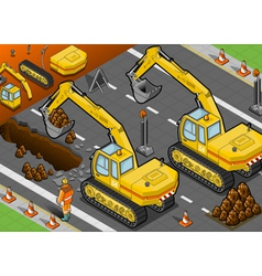 Isometric yellow excavator in rear view vector