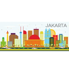 Jakarta Skyline with Color Buildings vector