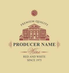 label for wine with old house and statues vector image