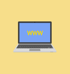 Laptop flat style with abbreviation www on screen vector