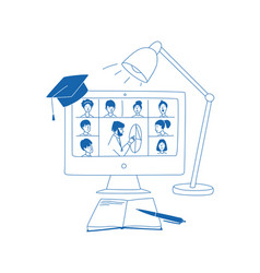 Learning online e-learning video call chat vector