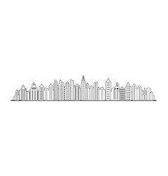 linear city skyline city panorama landscape vector image