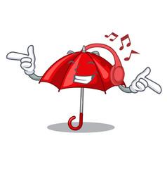Listening music red umbrella lit up cartoon shape vector