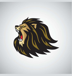 mad lion head roaring mascot logo template vector image