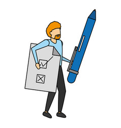 man holding pen and document vector image