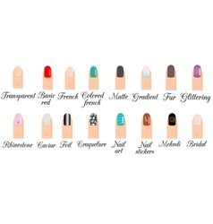 Manicure types Nail design nail art set vector image