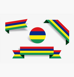 mauritius flag stickers and labels vector image