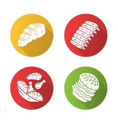 Meat dishes flat design long shadow glyph icons vector
