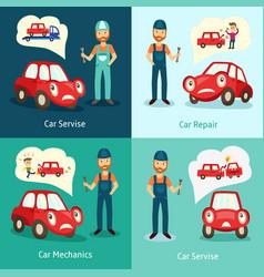 mechanic service repair posters set vector image