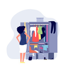 Opened wardrobe girl stand front closet stack vector