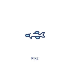 Pike concept 2 colored icon simple line element vector