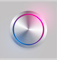 realistic 3d brushed metal circular button vector image