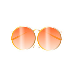 round sunglasses with gold frame fashion beach vector image