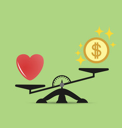 scales comparison of money and heart vector image