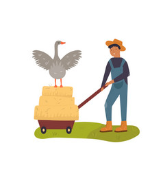 Scene with a working farmer and goose vector