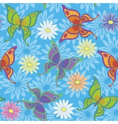 Seamless background flowers and butterflies vector