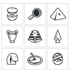 Set egypt icons archaeology search vector