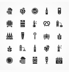 set of black beer icons vector image