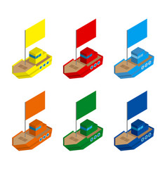set of colored isometric ships with flags vector image