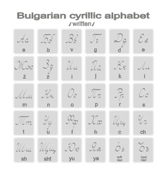 Set of monochrome icons with written bulgarian cyr vector