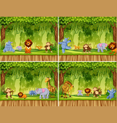 Set of wild animal in jungle vector