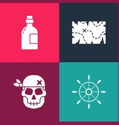 Set pop art ship steering wheel skull pirate vector