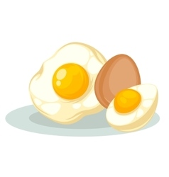 Set with raw fried and boiled chicken eggs vector image