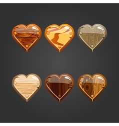Set with wooden heart vector