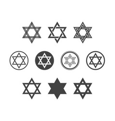 Shield magen david star set symbol israel vector